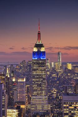 Usa, New York, Manhattan, Top of the Rock Observatory, Midtown Manhattan and Empire State Building by Michele Falzone
