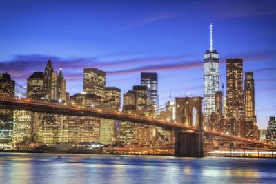 Usa, New York, New York City, Lower Manhattan and Brooklyn Bridge by Michele Falzone