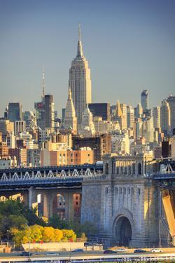 Usa, New York, New York City, Manhattan Bridge and Empire State Building by Michele Falzone