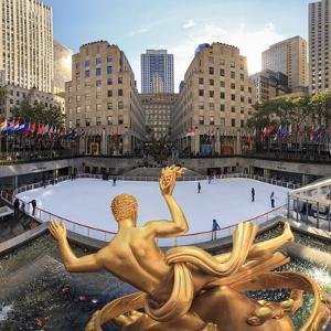 Usa, New York, New York City, Manhattan, Rockefeller Center, Ice Rink by Michele Falzone