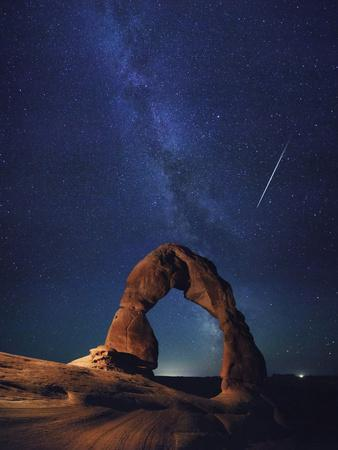USA, Utah, Moab, Arches National Park, Delicate Arch and Milky Way