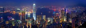 Victoria Harbour and Skyline from the Peak, Hong Kong, China by Michele Falzone