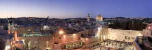 Western Wall, Dome of the Rock Mosque and Panoramic View of the Old City of Jerusalem, Israel by Michele Falzone