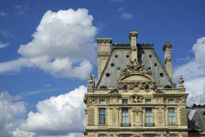 France, Paris, view of the Louvre palace from across the Seine river by Michele Molinari