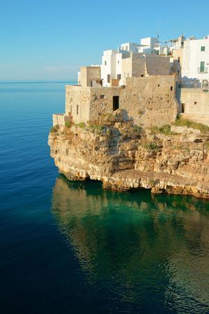 Italy, Apulia, Polignano a Mare. Old village on a cliff.