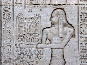 Queen Cleopatra and Stone Carved Hieroglyphics, Egypt by Michele Molinari