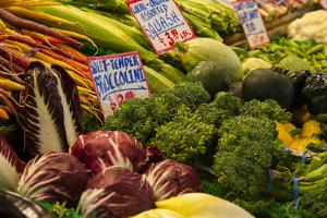 Fresh vegetables for sale at Pike Place Market in Seattle, Washington State. by Michele Niles