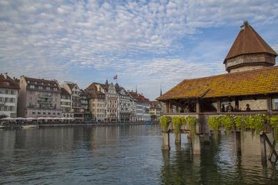 Kapellbrucke, wood covered bridge across the Reuss in Lucerne, Switzerland.