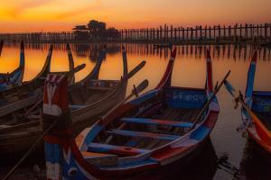 U Bein Bridge crossing the Taungthaman Lake near Amarapura in Mandalay, Myanmar. by Michele Niles