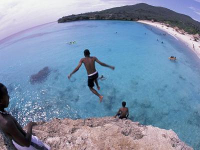 Cliff Jumping, Playa Abou, Playa Kanepa, Curacao by Michele Westmorland