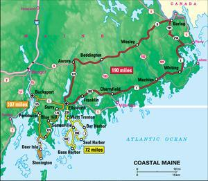 Michelin Official Coastal Maine Driving Tour Map Art Print Poster