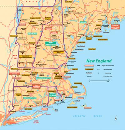 Michelin Official New England Map Art Print Poster