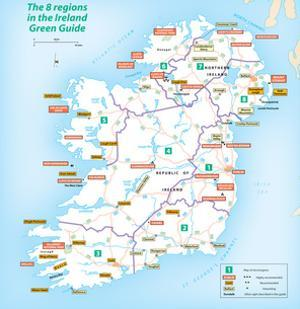 Michelin Official Regions of Ireland Green Guide Map Art Print Poster