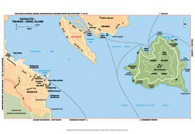 Michelin Official Sausalito Tiburon Angel Island Map Art Print Poster