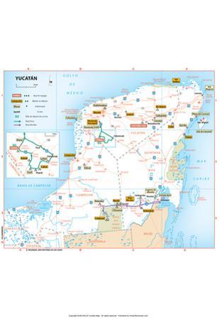 Michelin Official Yucatan Penninsula French Map Art Print Poster