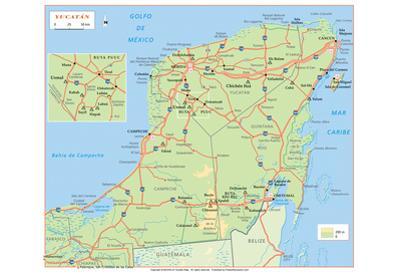 Michelin Official Yucatan Penninsula Map Art Print Poster