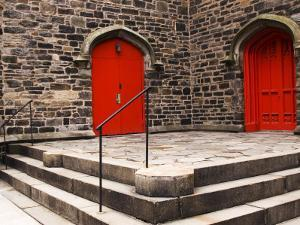 Bright Red Doors of Historic Chapel in Chelsea by Michelle Bennett