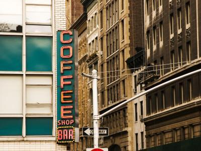 Detail of Coffee Shop Sign and Buildings, Union Square