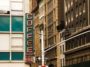 Detail of Coffee Shop Sign and Buildings, Union Square by Michelle Bennett