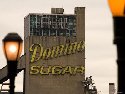 Exterior of Domino Sugar Building, Brooklyn, with Street Lanterns in Foreground