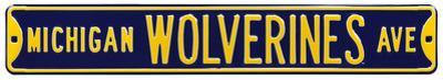 Michigan Wolverines Ave Navy Steel Sign
