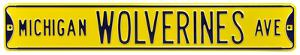 Michigan Wolverines Ave Yellow Steel Sign