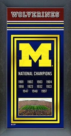Michigan Wolverines Framed Championship Banner