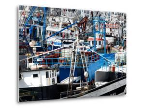 Densely Crowded Fishing Boats Moored in Tangier Fishing Harbour, Tangier, Morocco by Mick Baines & Maren Reichelt