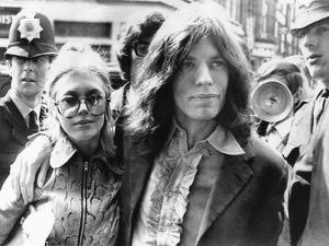 Mick Jagger and His Girl Friend, Singer Marianne Faithful Arrive at Magistrate's Court