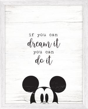 Mickey Dream It Framed MDF Sign