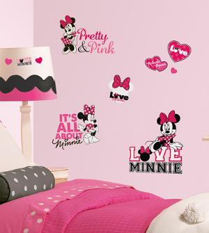Mickey & Friends - Minnie Loves Pink Peel & Stick Wall Decals