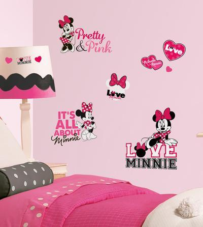 Mickey U0026 Friends   Minnie Loves Pink Peel U0026 Stick Wall Decals