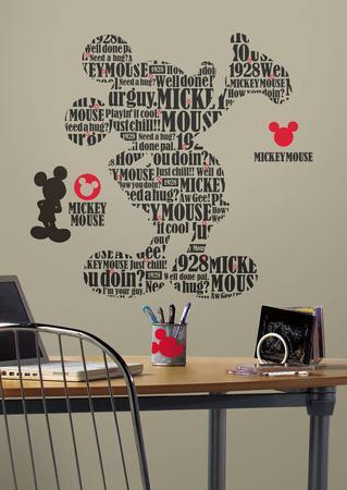 Mickey U0026 Friends   Typography Mickey Mouse Peel U0026 Stick Giant Wall Decals