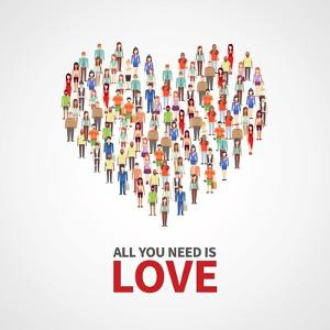 Happy People Community, Adult Persons Crowd in Heart Shape. All You Need is Love Vector Poster. Cro by MicroOne