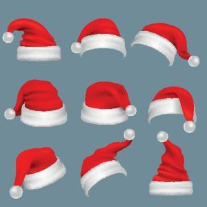 Realistic Christmas Santa Claus Red Hats Isolated Vector Set. Santa Claus Cap to Xmas Holiday Celeb by MicroOne