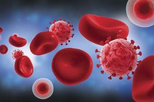 Microscopic View of Blood Cells with Virus