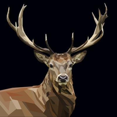 Majestic Deer with Mighty Antlers on Dark Background by mid92