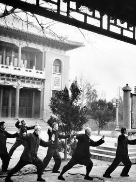Middle-Aged Chinese Men Practice T'ai Chi in Hopei Province, Communist China, Jan 1962