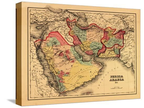 """Middle East """"Persia Arabia"""" - Panoramic Map-Lantern Press-Stretched Canvas"""