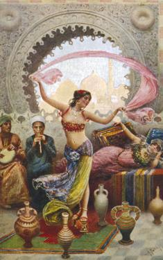 Middle Eastern Belly Dancer Dancing with a Veil to Musical Accompaniment