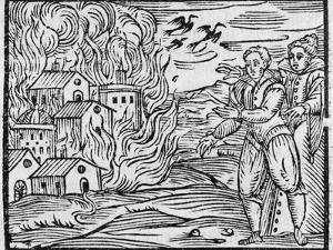 Witches Burning a Town, 17h Century by Middle Temple Library
