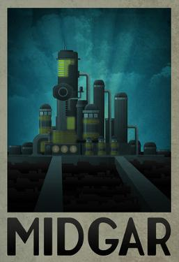 Midgar Retro Travel Poster