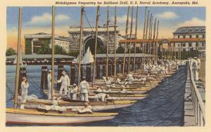 Midshipmen with Sailboats, USNA, Annapolis, Maryland