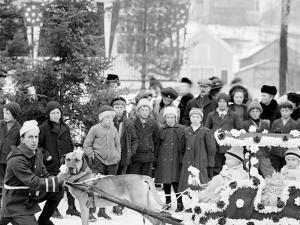 Midwinter Carnival, Childrens Parade, Dog Sleds, Upper Saranac Lake, N.Y.