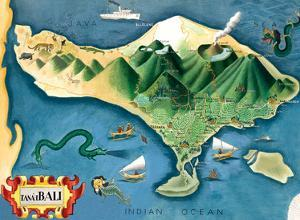 Map of Bali, Indonesia - Tanáh (Tanah) Lot Balinese Temple by Miguel Covarrubias