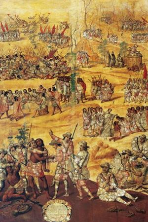 Conquest of Mexico, Spaniards Cut the Hands to the Xicotecas Spies, Museum of America, Madrid