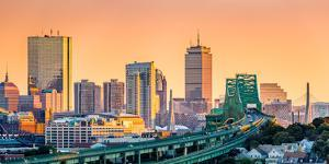 Tobin Bridge, Zakim Bridge and Boston Skyline Panorama at Sunset by Mihai Andritoiu