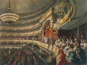 Auditorium of the Bolshoi Theatre, Moscow, Russia, 1856 by Mihály Zichy