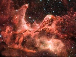 Adam and God Touching in Nebula by Mike Agliolo