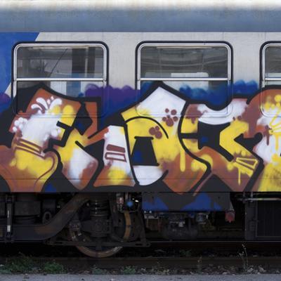Grafitti on Train Carriage, Pisa, Italy by Mike Burton